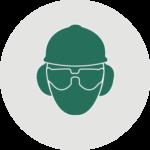 Icon Schutzbrille Gehörschutz Helm